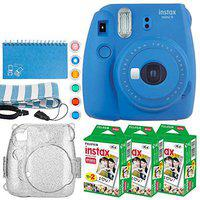 Fujifilm Instax Mini 9 Instant Camera (Cobalt Blue) + Fujifilm Instax Mini Twin Pack Instant Film (60 Exposures) + Glitter Hard Case + Scrapbooking Album + Colored Lens Filters + Neck Strap ? Full Kit