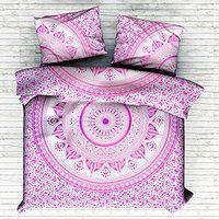 Handicraft-Palace Ombre Mandala Ethnic Pure Soft Cotton Bedding Bed Cover Bed Throw Coverlet Handmade Hippie Bohemian Wall Hanging Tapestry Screen Printed Home Decor Blanket Bedspread Bed Throw Bedsheet With 2 PC Pillow Cover For Double Bed Size Home Decorative Blanket