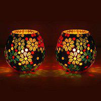 earthenmetal Glass Mosaic Candle Light Holder/candle Light, Pack of 2