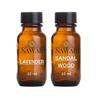 NAWAB Essential Aroma Diffuser Oil (Lavender and Sandalwood - 15ml Each)