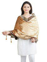 Anekaant Gold Solid Velvet Paisley Border Shawl (65X200 cm)