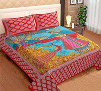 Amayra Home Jaipuri Hand Print 100% 200 TC Cotton King Size Bed Sheet with 2 Pillow Covers