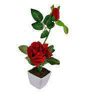 Hug Me Beautiful Show Peace Artificial Flower Rose With Vase Or Pot ,Vase Color May Be Vary