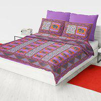 Ubania Collections 144 TC 100% Cotton Rajasthani Jaipuri Double Bedsheet with 2 Pillow Covers(Multicolour, 90 x 100 inch)
