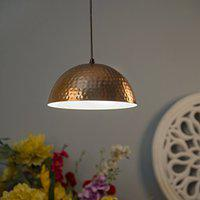 Homesake Classic Copper Hammered Pendant Light, Rose Gold, Hanging Pendant Ceiling Decorative Vintage Chandelier For Living Room , Home, Bedroom , Hall Jhumar Lighting , Both Indoor Outdoor - Made In India Products - Pack of 1