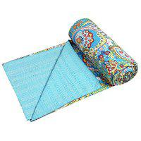 Stylo Culture Cotton Bedspread Kantha Bedcover Single Bed Cover Blue Paisley Print Hand Stitched Embroidered Traditional Quilt Coverlet