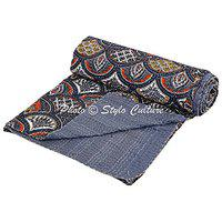 Indian Kantha Cotton Bedspread Double Dark Grey Cotton Rainbow Hand Stitched Blanket Bedding Bed Cover by Stylo Culture