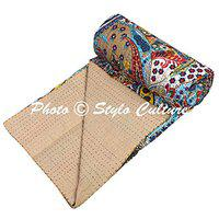 Stylo Culture Cotton Bedspread Kantha Bed Cover Single Bedding Beige Paisley Print Hand Stitched Embroidered Ethnic Bedding Quilt