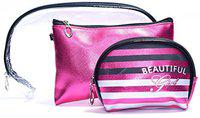 Color Fever Women's Multi Purpose Makeup Bag/Vanity Pouch/Toiletry Travel Kit (Pink)