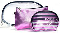 Color Fever Women's Multi Purpose Makeup Bag/Vanity Pouch/Toiletry Travel Kit (Purple)