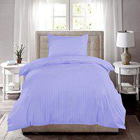 HUESLAND by Ahmedabad Cotton 220 TC Single Bed Sheet with 1 Pillow Cover Striped Cotton Sateen Collection 60 x 90 inches, Purple
