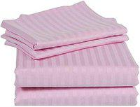 Jaipur Linen Premium 100% Cotton 300 TC Small Twin Size Fitted Bedsheet 48x72 with 1 Pillow Cover-Pink