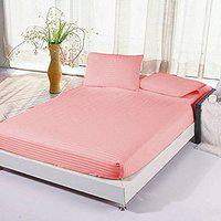 Jaipur Linen Premium 100% Cotton 300 TC Queen Size Fitted Bedsheet 60x78 with 2 Pillow Covers (Pink)