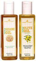 Park Daniel Virgin Sesame Oil and Olive Oil - Pure and Natural Combo pack of 2 bottles of 100 ml(200 ml)