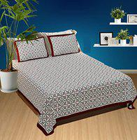 FAB NATION Jaipuri Print Cotton Double Bedsheet with 2 Pillow Covers - Queen (100% Fast Color) (Maroon, Grey, White)