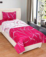 Home Solution Cotton Single Bedsheet with 1 Pillow Covers, Pink-White Stripes