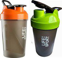 S.Blaze Heavy Plastic Life is A Sports Shaker Bottle for Men and Women (Green and Orange,500ml) - Pack of 2