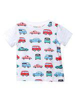 Beebay Boys 100% Cotton Knitted Printed T-Shirt (18-24 Months, White)