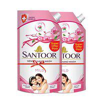 Santoor Mild Gentle Hand Wash, 750ml (Pack of 2) with Natural goodness of Lotus & Tulsi