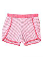 Beebay Girls 100% Cotton Knitted Stripe Shorts (9-12 Months, Coral)