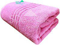 Sd enterprises Set of 1 Cotton Bath Towel Set 3 x 6 feet 450 GSM Made with 100% Cotton Ring Spun Extra Soft Cotton Towel Set Quick Dry and Double Stitch line for Extra Long Durability- Pink Towel
