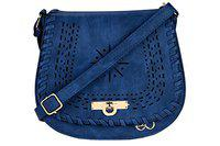 E2O Accessories Blue Edge Laser Cut Sling Bag'