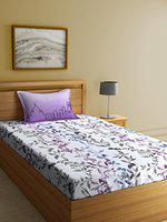 Elle Dcor Perspective Lot 2 152 TC Cotton Single Bedsheet with 1 Pillow Cover - Floral, Purple