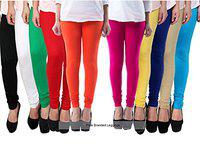 Pixie Leggings Set for Women's/Girls in Combo (Pack of 10) 160 GSM (Sky Blue, Beige, Pink, Blue, Red, Turquoise, Green, Yellow, Dark Yellow, Dark Green, Purple)