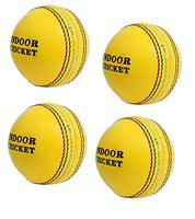 CW Indoor Cricket Balls Pack of 4 Leather Cricket Ball 2Piece Cricket Leather Ball Indoor Yellow Ball Indoor Leather Ball Weight 120gm Approx