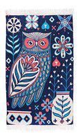 Chumbak Flower Owl Blue Floor Rug