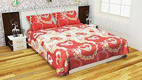 Akshya Polyester 3D Double Bedsheet with Pillow Covers - Queen, Cream
