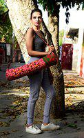 Red Ombre Mandala Printed Gym Sport Yoga Bag, Adjustable Strap Yoga Mat Cover by Handicraft-Palace