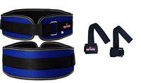 Diablo Excellent Back Support Gym Lumber Belt Blue with Weight Lifting Bar Straps Combo Pack (Belt Size- S)