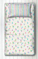 Silverlinen Dots and Stripes 100% Cotton 250 TC Single Bedsheet for Kids Room for Girls with One Pillow Cover - Cotton Candy Dots (Multicolour)