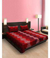 Modern Fab 3D Luxury Printed 180TC Polycotton Double Bedsheet with 2 Pillow Covers