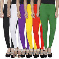 Pixie Women's Soft and 4 Way Stretchable Churidar Leggings Combo (Pack of 6) Black, White, Purple, Yellow, Red and Dark Green - Free Size