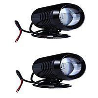 CAPE SHOPPERS U2 Waterproof Cree 30W LED Motorcycle Headlights, Laser Gun for Front Spot Light, Fog Lamp Chrome (Black)-Pack of 2