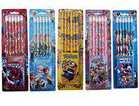 Aarvi Set of 12 Pieces Mix Cartoon Character Pencil with Eraser Top Birthday Return Gift for Kids (Pack of 5 Sets)