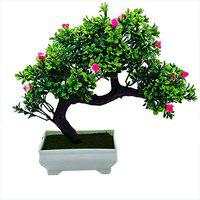 Artificial Plant with Pot by Random | Bent Bonsai Tree with Dark Green Leaves and Pink Flowers | Melamine White Pot with Real Looking Green Grass