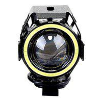 Casago CSU7M1P U7 CREE LED Fog Light with Hi/Lo Flashing Flood Beam and White Angel Eyes Ring for Cars and Motorcycles (15W)