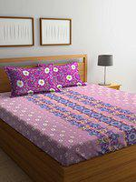 Bombay Dyeing 120 TC Cotton Double Bedsheet with 2 Pillow Covers - Purple