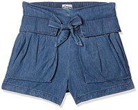 Lee Cooper Girls' Cotton Shorts (LCGB-4181-18637-SHT-SH-AT_M Stone_3-4 Years)