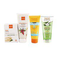 VLCC Sun Screen Gel and Scrub and Double Neem and Mud Face Pack Combo