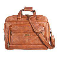 Handcuffs Laptop Bag 17 inch Messenger Leather Office Bag for Men (Tan)