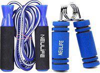 Neulife Exclusiv Ball Bearing Skipping Rope + Foam Handle Hand Gripper (Blue)