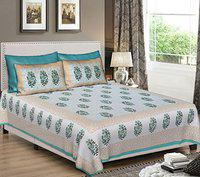 Khushal Homes Pure Cotton Traditional Jaipuri Double Bed Sheet with 2 Pillow Covers