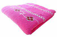 K.S. Collection Best 100% Cotton Super Highly Absorbent Big Size 26X56 inch Bath Towels, 350GSM (1 Piece_Pink Color)