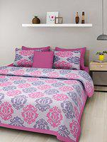 Dormir Tex Print Jaipuri 100% Cotton Double Bedsheet with 2 Pillow Cover- (Pink, Double)