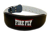 Men's Firefly Gym Fitnes Bodybuilding Abdominal Support Leather Weight Lifting Belt with Padded Back 5 Inch Wide Heavy Duty Double Prong Stainless Steel Buckle (48)