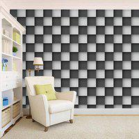 100Yellow Black & White Check Pattern Self Adhesive Peel And Stick Waterproof Wallpaper (Pvc Vinyl; 26.7 Sqft; Multicolour)